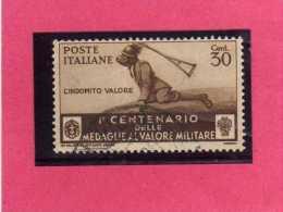 ITALIA REGNO ITALY KINGDOM 1934 MEDAGLIE AL VALOR MILITARE MEDALS OF MILITARY VALOUR CENT. 30 USED USATO - Oblitérés