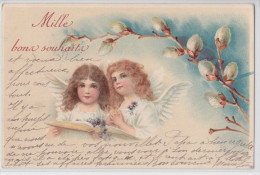 Mille Bons Souhaits - Cpa Fantaisie 1903 - Angelot - Ange - Angel - Fille - Fillette - Child - Children - Anges
