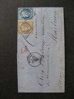 L 95- TB Lettre Affranchie  Avec N° 55 Et N° 60C, De Epinal Pour Strasbourg ( 31 Mai 1875). - Marcophilie (Lettres)