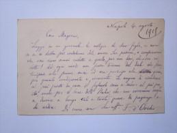 Cartolina Manoscritta E Firmata Francesco D'Ovidio Al Senatore Guido Mazzoni 1919 - Autographes