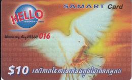 CAMBODIA - Bird, SAMART Prepaid Card $10, Exp.date 22/05/02, Used - Cambogia