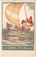 SGRILLI - ART DECO POSTCARD - KIDS ON THE BOAT -  565-6 - Illustrateurs & Photographes