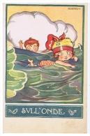 SGRILLI - ART DECO POSTCARD - KIDS '' ON THE WAVES  ''   -  565-1 - Non Classés