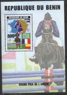 Bénin 1999 Fauna Faune Horse Riding Cheval Hippisme Pferd Grand Prix De L'Amitié Bloc Block Sheetlet - Bénin – Dahomey (1960-...)