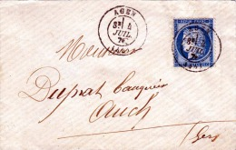 FRANKREICH 1876 - 25C Auf Brief Stempel Agen > Auch (Midi-Pyrénées) - 1863-1870 Napoleon III With Laurels