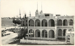 Vintage Real Photo PC; Massaua, Eritrea, Red Sea Colonial Bldg, Ship At Port - Eritrea