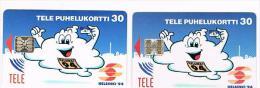 FINLANDIA (FINLAND) - TELE (CHIP) -  1993 HELSINKI ECH '94 (LOT OF 2 WHIT DIFFERENT CHIP) -  USED -  RIF. 8152 - Finlandia
