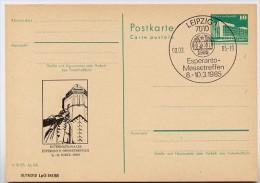 DDR P84-5-85 C109 Postkarte Zudruck BACHDENKMAL ESPERANTO Leipzig Sost. 1985 - Esperanto