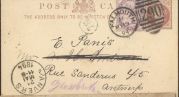 BRF16--- POSTKAART VAN FALMOUTH------>ANVERS - Stamped Stationery, Airletters & Aerogrammes