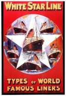 White Star Line Poster Replica Postcard - Paquebots