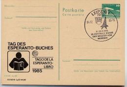 DDR P84-36-85 C130 Postkarte Zudruck ESPERANTO -BUCH LEIPZIG Sost. MMM 1985 - Esperanto
