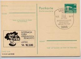 DDR P84-1-86 C134 Postkarte Zudruck ESPERANTO -TREFFEN  LEIPZIG Sost. 1986 - Esperanto