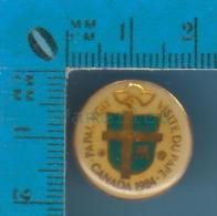 """Pin's Religion ( Visite Papal 1983  Identifier En Arrière """"Concacan Inc Juniper ) Pin Avec Cap - Non Classés"""