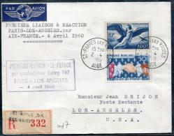 FRANCE - N° 1223 + PA 18 / LR AVION DE ST. PARRES LES VAUDES LE 2/4/1960, 1ére LIAISON A REACTION PARIS LOS ANGELES - TB - Eerste Vluchten