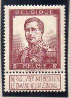 BELGIQUE : TP N° 122 * - 1912 Pellens