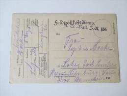 DR 1916 Feldpostkarte 3. Komp. II. Er. Batl. J. R. 136 - Briefe U. Dokumente