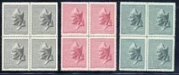 CZECHOSLOVAKIA 1947 St. Adalbert Set In Blocks Of 4 MNH / **.  Michel 515-17 - Czechoslovakia