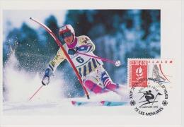 FDC FRANCE 1991 JO D'ALBERTVILLE 1992  SLALOM  LES MENUIRES - Hiver 1992: Albertville