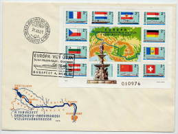 HUNGARY 1977 Danube Commission Block FDC.  Nichel Block 128A - FDC