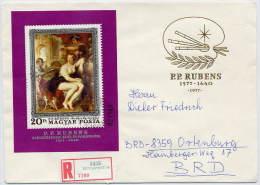 HUNGARY 1977 Rubens 400th Anniversary Block FDC.  Nichel Block 123A - FDC