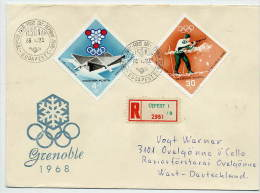 HUNGARY 1968 Winter Olympic Games Set On 3  FDCs.  Michel  2379-85 - FDC