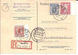 SBZ099/ Berlin Bärenmarken Auf Einschreibekarte Berlin W 15 (Westsektor) - Zone Soviétique