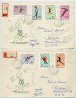 HUNGARY 1963  Eureopean Skating Championship Set On 2 FDCs.    Michel  1898-904 - FDC