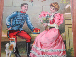 Superbe Chromo Et Image En Carte Postale (CPA)Thème De L´amour >un Couple Romantique : L´aveu - Trade Cards