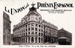 La Union Et Le Phenix Espagnol - Comp.d'Assurances Reunies, Siege A Paris, 57 & 59 Rue De L'Arcade - Hotels & Gaststätten