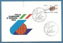 SPORT  PALLACANESTRO BASKET  ITALIA CAMPIONE D'EUROPA 1983   CARTOLINA COMMEMORATIVA - Pallacanestro