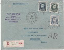 BELGIUM REGISTERED A/R COVER 20/10/1926 COB 213, 215 & 216 PETITS MONTENEZ BRUXELLES VERS STRASBOURG FRANCE - 1921-1925 Petit Montenez