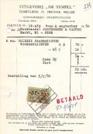 "FAKTUUR - UITGEVERIJ ""De TEMPEL""  Tempelhof, 37 - BRUGGE >> PEER 3/9/58 - Printing & Stationeries"