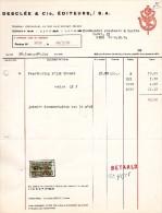 TOURNAI >> PEER - DESCLEE & Cie - EDITEURS -  FACTURE - Printing & Stationeries
