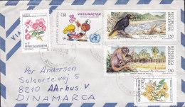 Argentina Via Aerea RECREO 1989 Mult Franked Cover Letra To AARHUS Denmark Bird Vogel Oiseau Monkey Affe - Argentinien