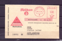 Deutsche Bundespost - Zahlkarte - Pelikan - Hannover 4/2/1970 (RM4394) - Pelikane