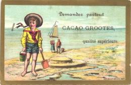 1 Chromo Cacao 14X9cm Chocolat   -  D. & M. GROOTES Rond 1880 à 1890 Tresling & Hof Lithografie - Chocolade