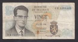 België Belgique Belgium 15 06 1964 20 Francs Atomium Baudouin. 3 E 1299425 - [ 6] Schatzamt