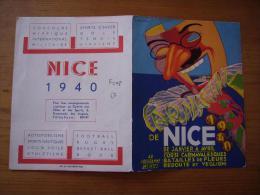 Pub Carnaval De Nice 1940 Corsi, Fleurs ...programme Hiver 1939/40 Illustrée Par Serracchiani - Publicités