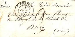 AIN - LAC Avec CURSIVE   1 Poncin + Cad T13 CERDON De 1849 - Poststempel (Briefe)