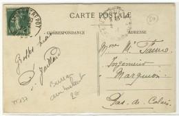 """Bureau Ambulant Des Gares  -  T04  -  """" LYON-ENTREPOT / RHONE / 1923 """" -  Sur YT 137 - Railway Post"""