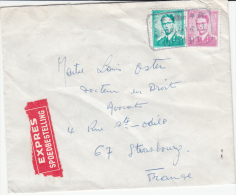 BELGIUM EXPRES COVER  13/04/1969 COB 1067 & 1371 LIEGE VERS STRASBOURG FRANCE - 1953-1972 Bril