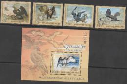 HUNGARY , 2012, MNH, BIRDS, BIRDS OF PREY, 4v+S/SHEET - Arends & Roofvogels