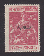 Azores, Scott #RA3, Mint Hinged, Portuguese Postal Tax Overprinted, Issued 1915 - Açores