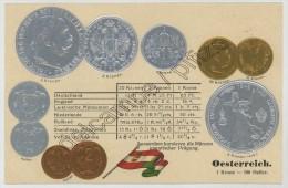 Monnaies D´Autriche. Carte Gaufrée. - Coins (pictures)