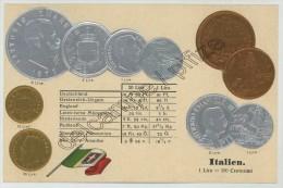 Monnaies D´Italie. Carte Gaufrée. - Coins (pictures)