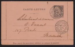 INDOCHINE ENTIER POSTAL CARTE LETTRE 1891 POUR MARSEILLE +CACHET ARRIVE  Réf  6987 - Briefe U. Dokumente