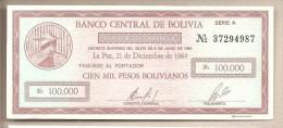 "Bolivia - Banconota ""Cheque"" Non Circolata Da 100.000 Pesos - 1984 - Bolivia"