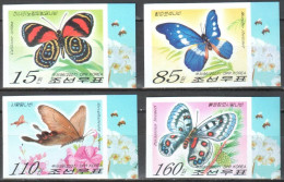 Korea North 2007 Butterflies  Mi. 5189-5192B - Imperforated MNH (**) - Schmetterlinge