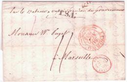 """1839- Lettre De LIVORNO """"par Le Bateau à Vapeur Français Du Gouvernement """" + T.S. 1 +entrée Par Antibes Pour Marseille - 1. ...-1850 Prephilately"""