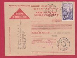 CONTRE REMBOURSEMENT  // POUR  ST JEAN DE SAUVES  //  2/8/1955 - Documents Of Postal Services